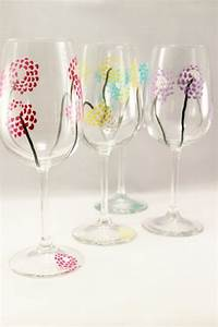 Colorful modern flowers - hand painted wine glasses