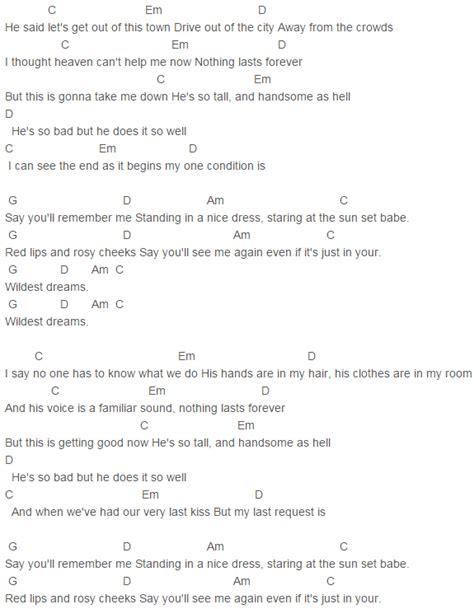taylor swift wildest dreams chords lyrics  guitar