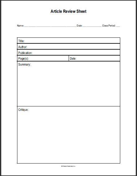 social studies printable article review sheet