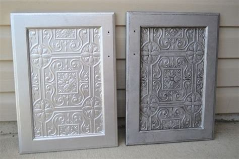 Wallpaper For Cupboard Doors by Faux Tin Tile Cabinets Paintable Wallpaper Cabinets And