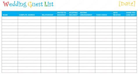 Free Editable Wedding Guest List Templates