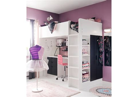 loft bed with desk and storage ikea white and black gloss paint with study desk added clothing
