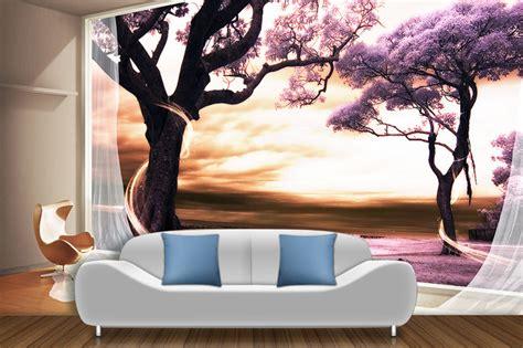 peinture mur chambre à coucher papier peint 3d paysage fantaisie romantique arbre violet