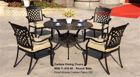 patio furniture dining set cast aluminum 5pc carlisle