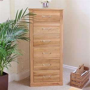 Mobel Oak Tallboy 6 Drawer Wooden Furniture Store