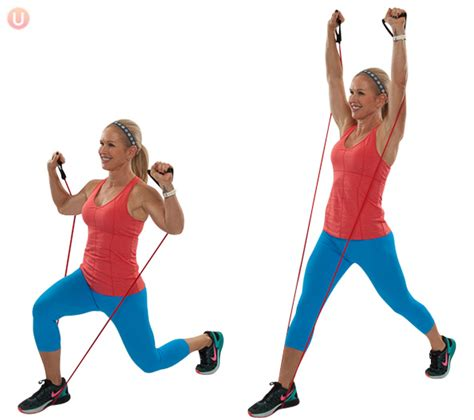 Pants For Kitchen by How To Do Resistance Band Lunge With Overhead Press
