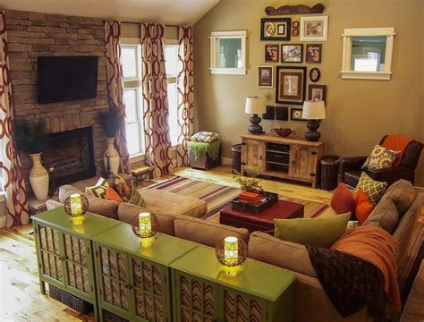 Living Room Ideas Earth Tones by A Warm Living Room Featuring Green And Orange Earth Tones