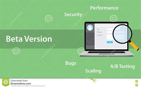 Beta Version Software Concept With Laptop And Magnifying