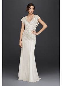 beaded sheath wedding dress with blouson bodice davids With blouson wedding dress