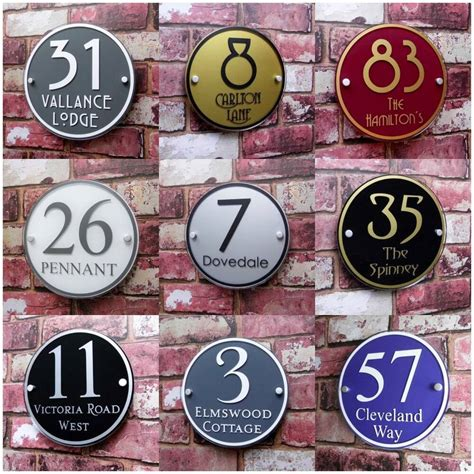 personalised house sign door number street address plaque