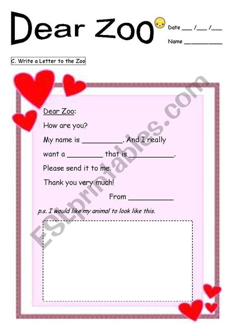 zoo dear worksheet worksheets campbell rod tales reading stories