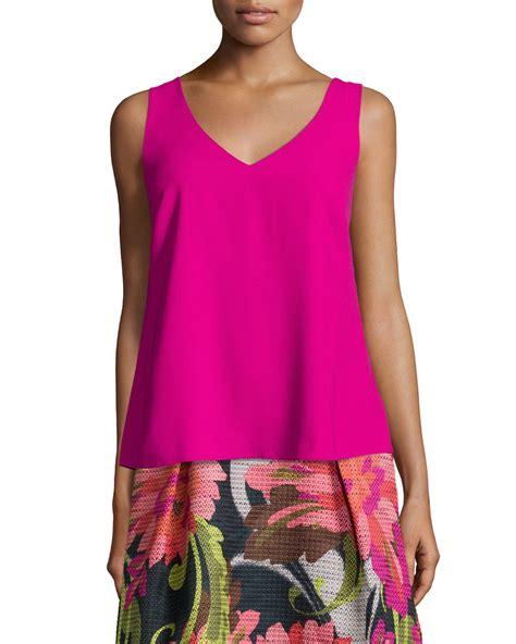 v neck blouses sleeveless v neck crepe blouse in pink mod