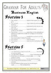 english worksheets grammar  adults business english