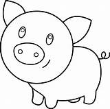 Pig Coloring Clip Line Clipart Graphics Sweetclipart sketch template