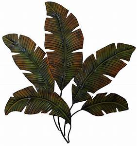 Metal palm tree leaves wall art decor tropical indoor for Leaf wall decor