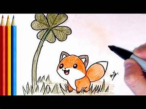 How to Draw Cute Fox looking at Plant - Step by Step ...