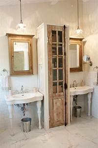 decoration salle de bains style vintage en 33 idees geniales With porte de douche coulissante avec meuble vintage salle de bain