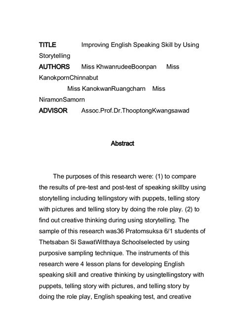 abstract improving english speaking skill