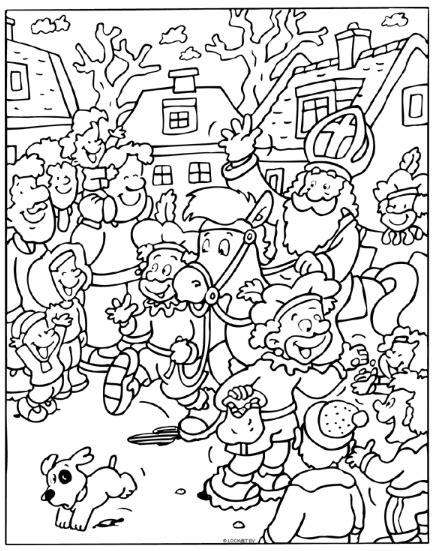 Kleurplaat Sinterklaas Moelijk by Sinterklaas Coloring Sinterklaas Sint Nicolaas