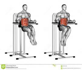 exercising oblique raises on parallel bars stock