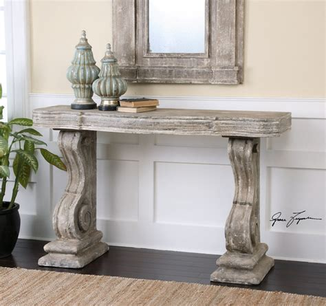 console table shabby chic uttermost distressed console table and matching mirror