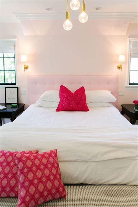 pink tufted headboard contemporary girls room