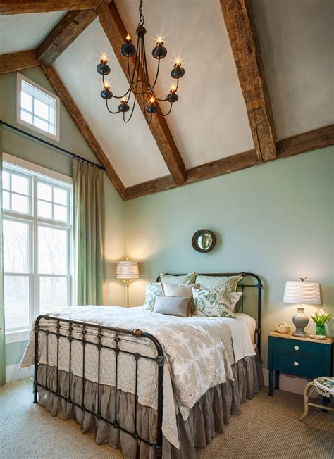 farmhouse green bedroom rustic beams
