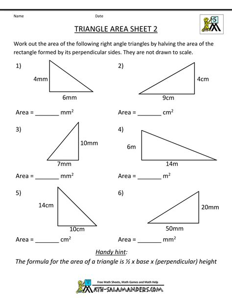 area of a triangle worksheets 7th grade triangle area