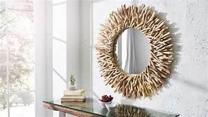 Miroir Bois Flotté : grand miroir rond design moderne cadre bois flott roy gdegdesign ~ Teatrodelosmanantiales.com Idées de Décoration