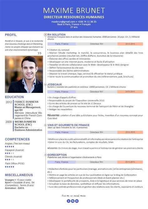 De Cv Professionnel En Francais by Cv Pour Cadre Curriculum Vitae Professionnel