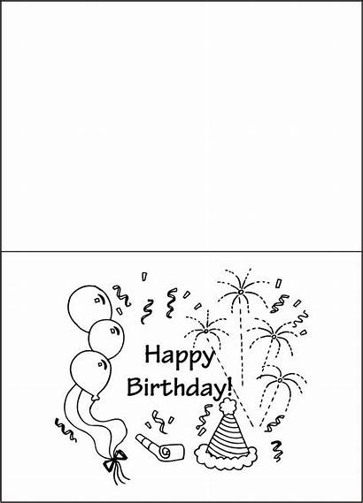 Birthday Printable Happy Cards Coloring Pages Card