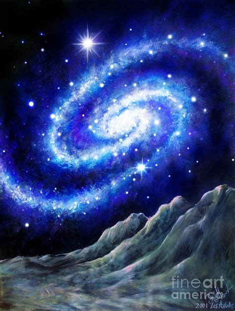 Blue Galaxy And Alien Planet Painting By Sofia Metal Queen