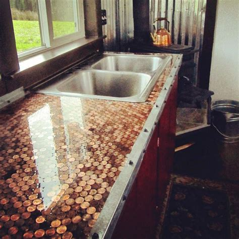 kitchen floor made of pennies best 25 countertop ideas on table 8070