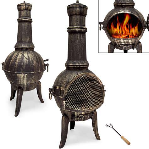 Large Cast Iron Chiminea - large cast iron chiminea barbecue garden patio heater 112