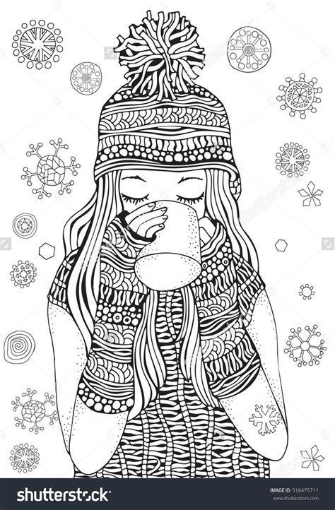 winter girl  gifts winter snowflakes adult coloring