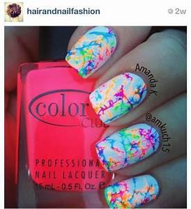 Cute nail design for summer. Paint nails white. Drop a few ...