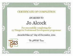 joeyanne39s 23 things for professional development cpd23 With cpd certificate template