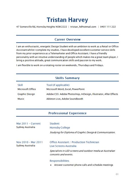 Exles Of Student Resume by Sle Student Resume How To Write Stuff Org