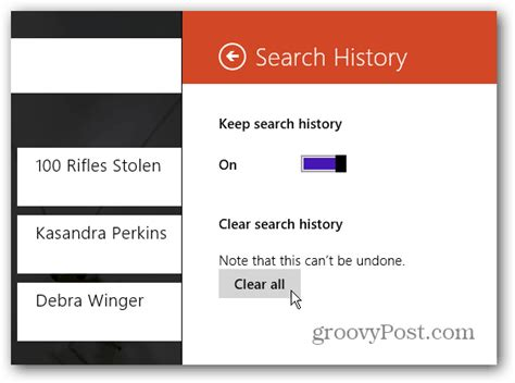 Delete or Disable Windows 8 Bing App Search History