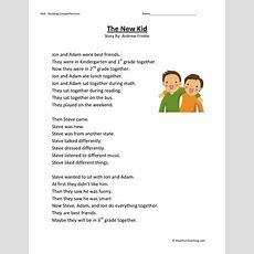 Reading Comprehension Worksheet  The New Kid