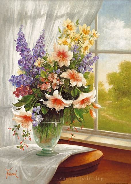flowers window vase oil canvas fine colorful print artwork wall closed printing painting fasani sunny washcloths towels terry cloth garden