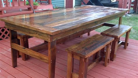 Rustic Farm Table & Benches-diy Projects