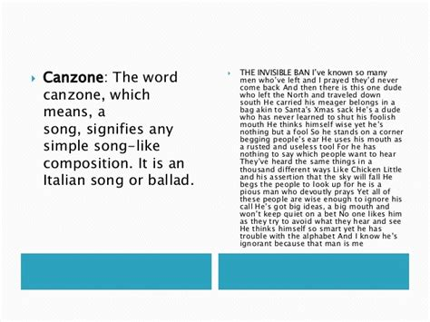 examples poetry kinds canzone word