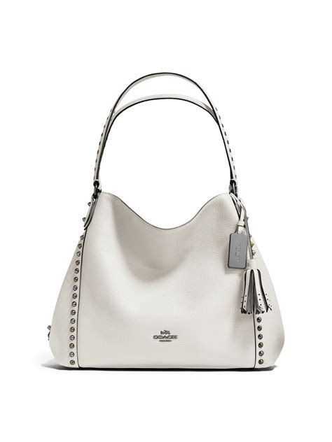 coach edie studded leather shoulder bag  white lyst