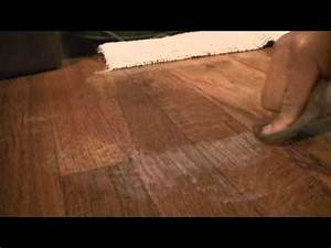 Remove alcohol damage stain on hardwood floors youtube for How to repair water stains on hardwood floors