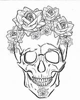 Coloring Skull Sugar Different Printable Collage Five Sheets Sheet Tattoos sketch template