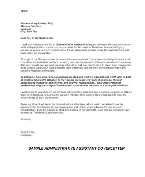 covering letter exle for administrative position 9 administrative cover letters sle templates
