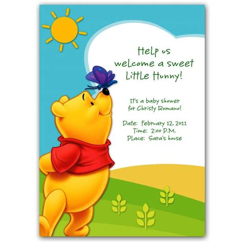 Winnie The Pooh Templates by Winnie The Pooh Baby Shower Invitations Templates Free