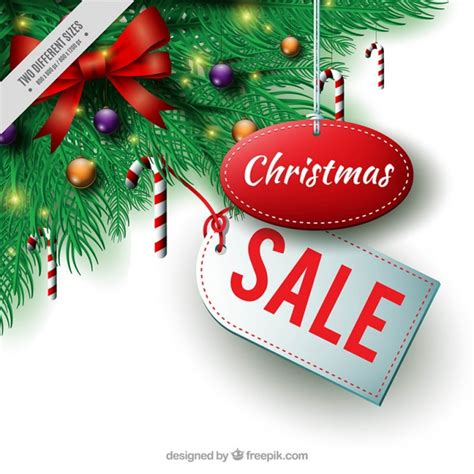 christmas sale background with fir decoration vector
