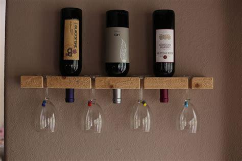 wooden wall mount wine rack    solid piece